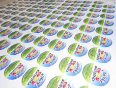 etichette vasetto yogurt, diametro 6cm ,stampa digitale su pvc adesivo bianco