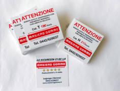 etichette revisioni, serigrafia su pvc bianco 200micron, stampa ambedue i lati + colla 1 lato
